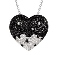Black& White Solitaire 3D Love Heart Pendant Valentine's Set