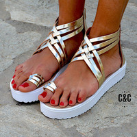 "Women Leather Sandal ""Chic Romance"", strappy sandals, genuine leather sandals, gold sandals"