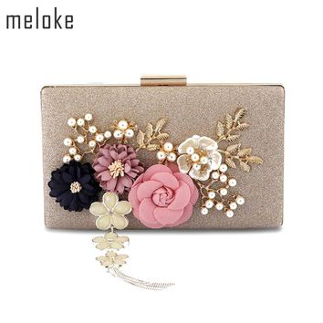 Meloke 2018 new fashion handmade floral evening bags wedding clutch bags with pearl chain party bags for ladies MN569
