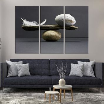 98814 - Large Wall Art Abstract Seesaw with Stones and Feather Canvas Print