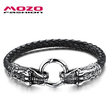 MOZO FASHION 2016 Hot Brand Jewelry Men's Bracelets Leather Rope Chain Stainless Steel Dragon Vintage Bracelet Men gift MPH905