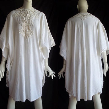 Vintage 70s Draped Gauze Crochet Lace Batwing Caftan Dress Tunic One Size Fits Most