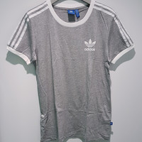 adidas Originals Unisex Grey Three Stripe Boyfriend T-Shirt