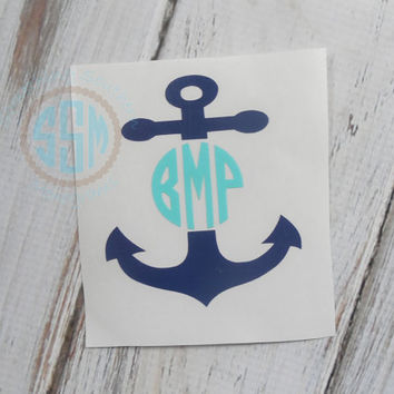 Anchor Initials Monogram Car Decal Vinyl Decal Monogram Car sticker Car Initials Vinyl Initials Vinyl Lettering