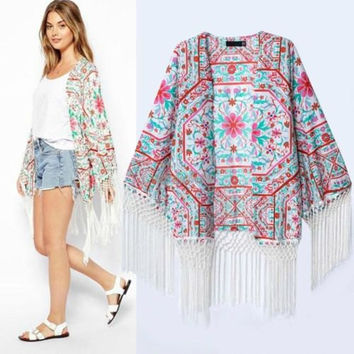 Women Summer Totem Floral Loose fringe Shawl Kimono Cardigan Coat Cape Jackets