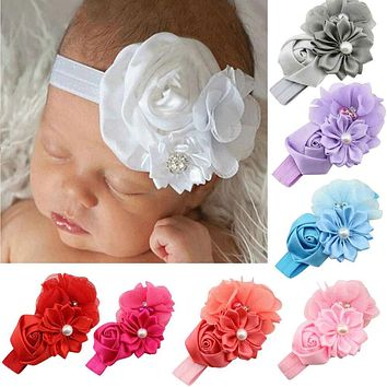 Really Cheap Fashion Hearwear For Girls Pearl Flower Pattern Elastic Headband Hairband Hair Accessories Large Discount