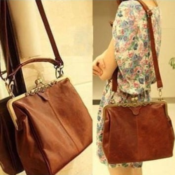 Hot Sale Stylish Vintage Tote Bag Clip One Shoulder Messenger Bags [6582921415]