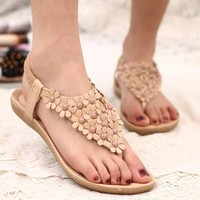 Fashion Casual Summer Women Flowers Embellishment Open Toe Sandals Flat Sandal