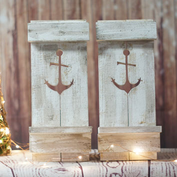 TWO Nautical Anchor Pallet Wall Sconce - Beach House Decor Sconce