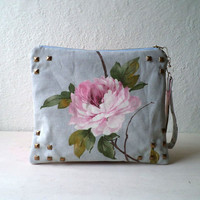 Vegan Clutch, wristlet, studded handbag,pouch, peonies pattern in cotton canvas removable strap. Ready To Ship.