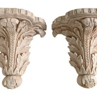 Acanthus Wall Shelf Brackets, Pair
