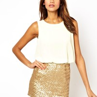 TFNC Dress With Blouson Top And Sequin Skirt