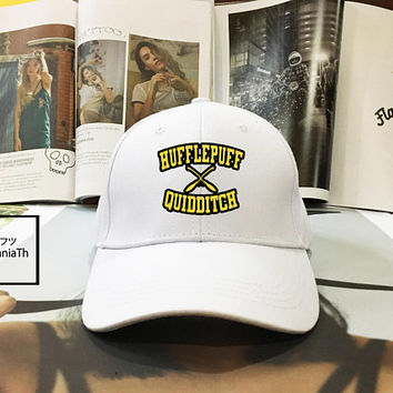 Hufflepuff Quidditch Harry Potter Hogwarts hat Black White - Hufflepuff Baseball Cap, Dad Hat Baseball Hat, Low-Profile Baseball Cap Tumblr