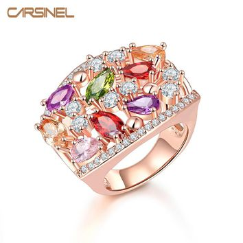 CARSINEL Unique Design Rose Gold-color Mona Lisa Ring for Female Wedding with AAA Colorful CZ Zircon Bijouterie RI0118