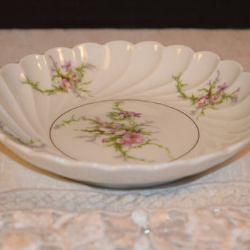 Haviland Limoges Pink Rose Trinket Dish Vintage Limoges France Ruffled Bowl Shabby Chic Dish Cottage Chic Decoration French Country Dish