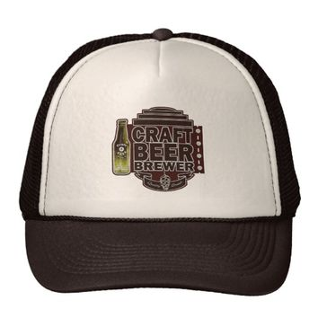 Craft Beer Brewer - Brown Wood-Grain Look Logo Trucker Hat