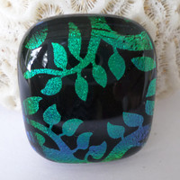 Dichroic  Cabochon Cab Pendant Fused Glass Green Vines  Glass Focal  Bead Upgrade to necklace available