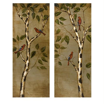 2 Oil Paintings - Birch Trees And Birds