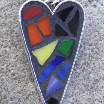 Necklace With Mosaic Heart Pendant, Antiqued Silver Base with Rainbow Glass Mosaic on Adjustable 18 to 20 Inch Leather Cord