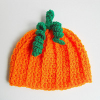 Pumpkin Baby Hat Orange Infant  Autumn Cap 6 - 12  Months  Boy Girl Crochet Halloween  Photo Prop  Green Fall  Children Clothing