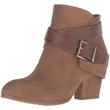 LifeStride Womens Wendy Faux Suede Buckle Booties