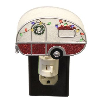 Christmas TRAILER NIGHT LIGHT Plastic Electric Wreath Camper 160185