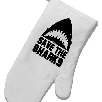 Save The Sharks White Printed Fabric Oven Mitt