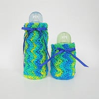 Baby Bottle Covers Cozy Set  Bright Green Blue Yellow Cozies Newborn Girl Kozy Infant Boy Feeding  2 Two  Koozies Colorful