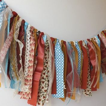 Rustic wedding garland, tattered fabric backdrop photo prop, birthday or graduation party banner, home decor window valance & mantle display