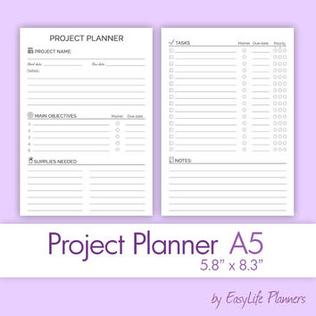 "PROJECT Planner A5 (5.83"" x 8.27"") Printable pdf. Perpetual goal projects tracker. Black and White Craft filofax inserts. Instant Download."