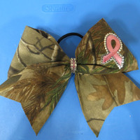 camo print breast cancer bow