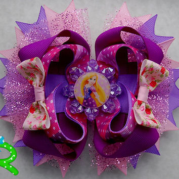 Rapunzel Layered Hair Bow , Disney Boutique bow , Princess Stacked Bow .