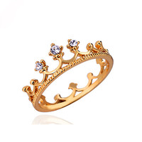 Golden Crown Ring Diamond Princess Jewelry