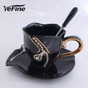 3D Ceramic Mugs With Rhinestones Decoration for Coffee and Tea Lovers