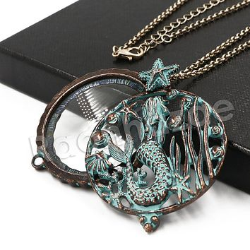 Patina Antique Vintage Design Tree of Life 5X Magnifying Glass Locket Pendant Necklace