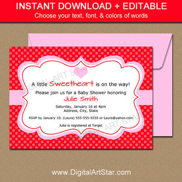 Printable Valentines Day Invitation From Digital Art Star - Valentine's day invitation template
