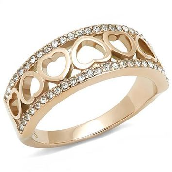Ion Plated Rose Gold Stainless Steel with CZ Heart Ring