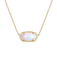 Elisa Gold Pendant Necklace in White Kyocera Opal - Kendra Scott Jewelry