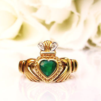 Vintage Emerald Green Colored Glass Heart Claddagh Ring Irish Wedding or Engagement Ring 14K Gold Diamond Accent Ring Size 6.5!