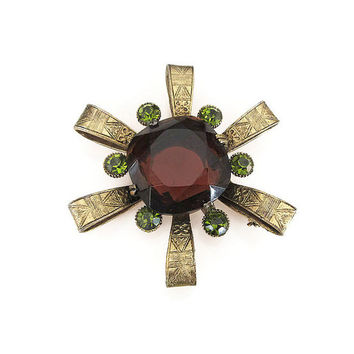 Capri Brooch, Vintage Brooch, Egyptian Revival,  Amber Topaz Glass, Green Rhinestone, Mid Century, Vintage Jewelry