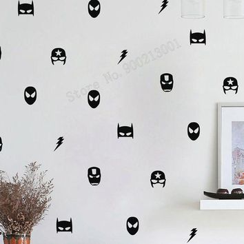 Art  Wall Sticker Batman Wall Decoration Superman Ironman Captain Room Decor Vinyl Art Removeable Poster America Mural LY186