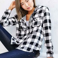 BDG Hooded Double-Cloth Button-Down Flannel Shirt Jacket