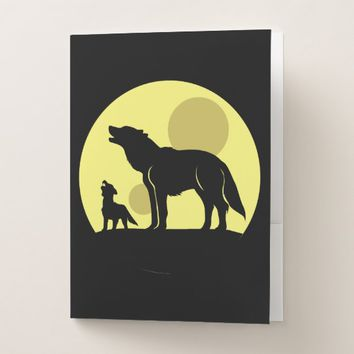 Mother and Wolf Pup Pocket Folder