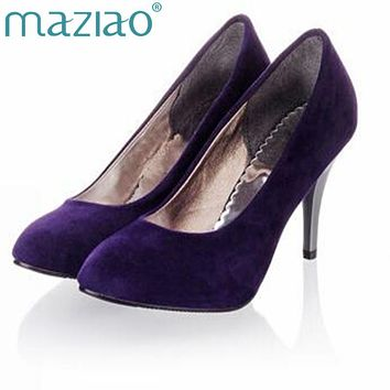 MAZIAO Plus size 34-45 Spring summer Women shoes Pointed toe Spool heels  Flock sandals 38ebda98ba8b
