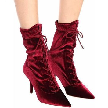 Velvety Lace-up Pointed High Heels Boots