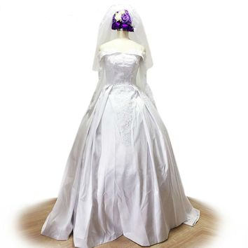 Satin wedding gowns White Ivory Applique Long Sleeve A-Line Lace Wedding Dress