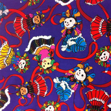 Mexican Folk Art Doll on Purple Cotton Fabric - Sewing Craft Supplies