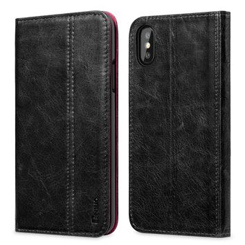 For iPhone X Case Genuine Leather Vintage Book Folio Flip Cover With Card Holder Standing For Apple iPhone X/iPhone 10 2017 New
