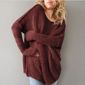 Casual Long Sleeve Pullover Loose Knitwear Top Sweater