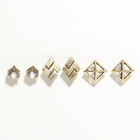 With Love From CA 3 Card Geometric Stud Earrings at PacSun.com